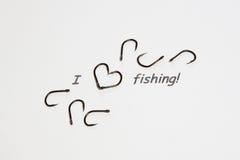 Inscription - I love fishing.  Stock Image