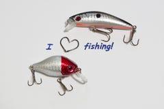 Inscription - I love fishing.  Royalty Free Stock Image