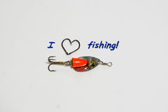 Inscription - I love fishing. Stock Image