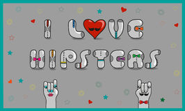 Inscription I love hipsters. Vector Illustration Royalty Free Stock Image