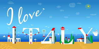 Inscription I love Italy. Vector Illustration Stock Image