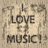 Inscription I love music in grunge style Stock Photo