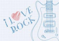 Inscription I love rock on notebook sheet Stock Image