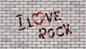 Inscription I love rock on the wall Stock Photo