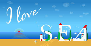 Inscription I love sea. Vector Illustration Stock Image
