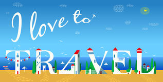Inscription I love to travel. Vector Illustration Stock Photos