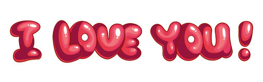 The inscription I love you. The inscription cartoon I love you with pink balloons Stock Image