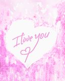 The inscription I love you on the center of the heart, tender and pink watercolor background. A sentimental Declaration of love Royalty Free Stock Photos