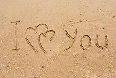 Inscription I  love you and connected hearts Royalty Free Stock Photography
