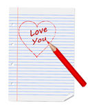Inscription  I love you on exercise book Stock Images