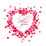 The inscription I love you inside the heart of rose petals on white background Royalty Free Stock Image