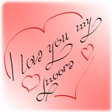 The inscription`I love you my Moore` made by the author`s font decorated with hearts and red. Suitable for your design as a postcard and print on clothes and royalty free illustration