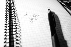 Inscription I love you in a notebook. Notepad in the cage, on the spring black and white Stock Photos