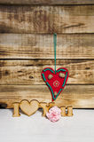 Inscription I love you. On a wooden background stock photo