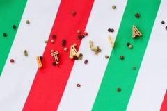 Inscription Italy on background of italian flag Stock Photo