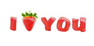Inscription je t'aime avec la fraise sur le fond blanc Images stock