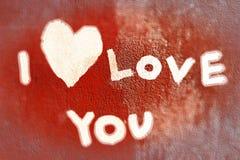 Inscription je t'aime sur le mur Photo libre de droits