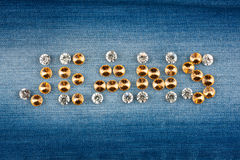 Inscription jeans made of rhinestones Royalty Free Stock Images