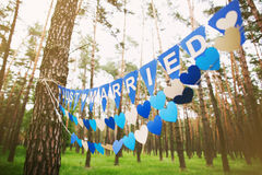 Inscription Just Married. Festive decorations for wedding party Stock Photography