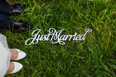 Inscription just married. She is lying on the grass at the feet of the bride and groom Stock Image