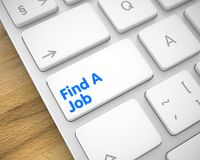 Find A Job - Message on White Keyboard Button. 3D. Inscription on Keyboard Enter Key, for Find A Job Concept. Business Concept: Find A Job on Slim Aluminum Royalty Free Stock Photos