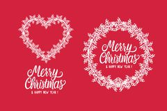 Inscription lettering Merry Christmas and Happy New Year. Winter round frame and heart of white snowflakes. Vector. Inscription lettering Merry Christmas and vector illustration