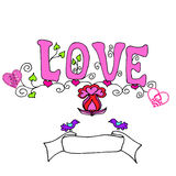 Inscription of letters  love pink Stock Photography