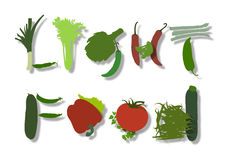 Inscription light food made of vegetables. Inscription light food composed of vegetables such as asparagus, long pepper, green beans, celery, zucchini, cucumber Royalty Free Illustration