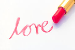 Inscription lipstick love Stock Photography