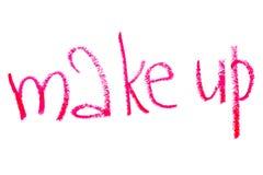 Inscription lipstick make-up Stock Images