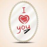 Inscription lipstick on mirror. Heart and inscription i love you lipstick on mirror Stock Photo