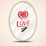 Inscription lipstick on mirror. Heart and inscription love lipstick on mirror Stock Image