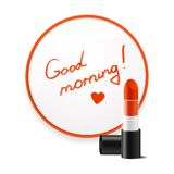 Inscription lipstick to wish good morning glued to Royalty Free Stock Images