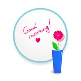 Inscription lipstick to wish good morning glued to Stock Photography