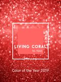 Inscription Living Coral color on glitter bokeh & sparkles vertical background. royalty free stock images