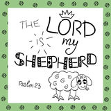 The inscription the Lord is my shepherd, near the sheep. Biblical background. Christian poster. Psalm 23. Sunday school. Children s Ministry Royalty Free Stock Photography