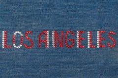 Inscription Los Angeles, inlaid rhinestones on denim. Stock Image