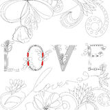 Inscription LOVE. Universal template for greeting card, web page, background Royalty Free Stock Photography