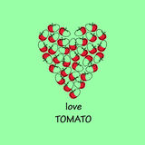 Inscription love. autumn vegetables. tomatoes sketch. Heart laid Stock Image