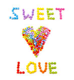 Inscription Love From Coloured Chocolate Candy Stock Image