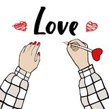 The inscription love and the girl in a plaid shirt. Royalty Free Illustration