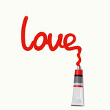 Inscription love - Illustration. Red inscription love written with paint from a tube Stock Images