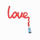 Inscription love - Illustration. Red inscription love written by red lipstick Stock Image