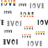 Inscription of love, pattern, colorful sexual minorities royalty free illustration