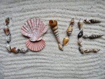 Inscription Love with shells on gray sand - selective focus Stock Photos