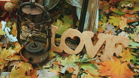 Inscription love from a tree on a background of yellow leaves. Landscape stock video footage