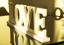 Inscription love wooden letters Stock Photography