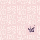 Inscription LOVE YOU with crown seamless pattern Stock Photography