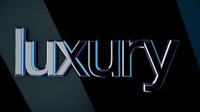 Inscription Luxury. Animation. Luxury volumetric lettering with glossy surface reflects light shine on dark isolated. Background royalty free illustration