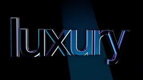 Inscription Luxury. Animation. Luxury volumetric lettering with glossy surface reflects light shine on dark isolated. Background vector illustration